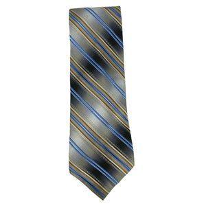 Bugatti Mens Black Silver Brown Tan Blue Silk Tie